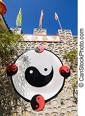 石, 中国語, シンボル, 壁,  yang,  ying