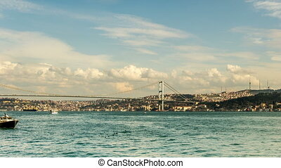 blue sky with Bosphorus Bridge - Time Lapse Photography...
