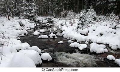 waterfall river Bode in Winter