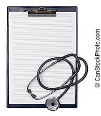 夾子, 板, 以及, Stethoscop,