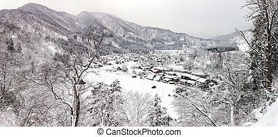 Shirakawago Panorama - Aerial Shirakawago panorama winter...