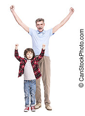 Grandfather and grandson - Smiling grandfather and his ?ute...