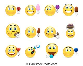 Cute smiley sweet tooth - Cute emoticons with different...