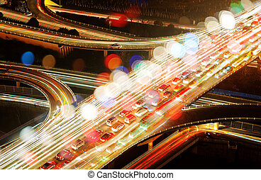 Traffic jam - Aerial view of the viaduct Night, countless...