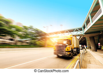 Trucks and viaduct - High-speed truck, motion blur pictures.