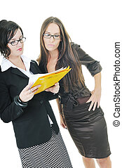 advices and answers - two young business woman group looking...