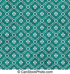 Teal and White Maltese Cross Symbol Tile Pattern Repeat...