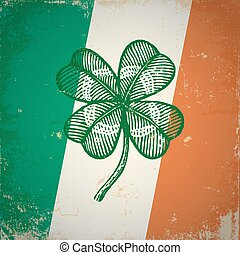 Clover on Irish flag - Retro clover on Irish flag for...