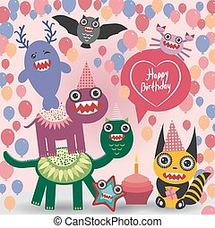 happy birthday Funny monsters party card design. vector