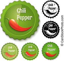 Set chili stamps - Vector set of new and retro chili stamps