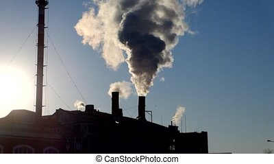 Chimney with smog backlit footage - Chimney with smog...