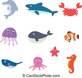 Sea animal cartoon - Vector Illustration of Sea animal...