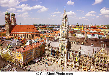 Munich cuty center skyline view to Marienplatz Frauenkirche...
