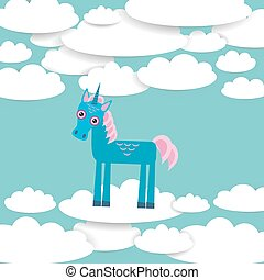 Funny unicorn White clouds on blue sky background. Vector