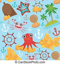 Marine seamless pirate pattern on light blue background....