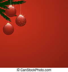 Christmas Tree Baubles on Red Gradient - Three red shiny...
