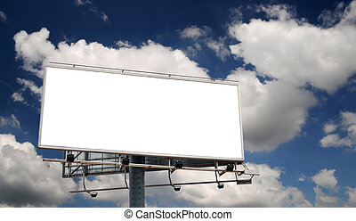 Blank Billboard Screen in front of beautiful cloudy sky