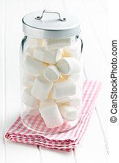 white marshmallows in jar