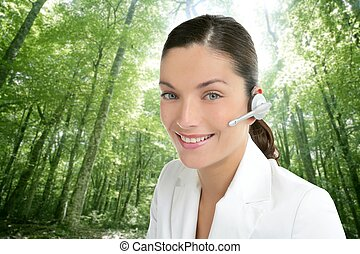 Beautiful headset woman in an forest - Beautiful headset...