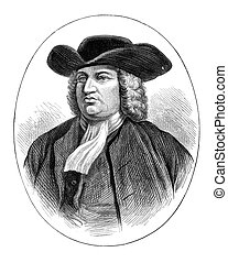William Penn - An engraved vintage illustration portrait of...