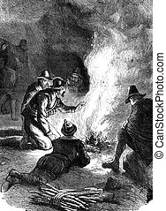 Pilgrim Fathers - An engraved vintage illustration of the...