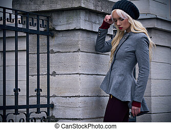 Blonde girl with red lips outdoors - Beautiful blonde girl...