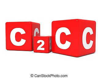 C2C cubes on white background. 3D illustration.