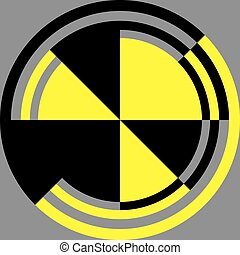 Abstract black and yellow target on gray background