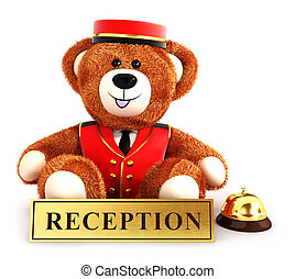 3d teddy bear bellboy, isolated white background, 3d image