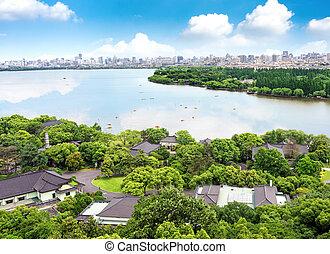 West Lake in Hangzhou, Zhejiang, China - Aerial View of the...