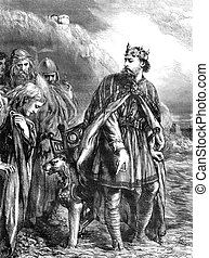 Canute - An engraved vintage illustration of King Canute...