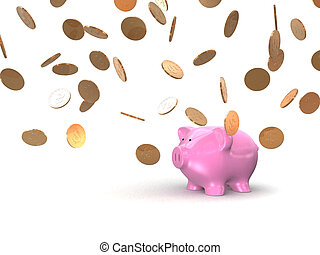 piggy and coins - 3d rendered illustration of a piggy bank...