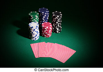 Gambling chips and playing cards