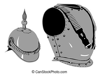 Armor - Retro iron armor on white background