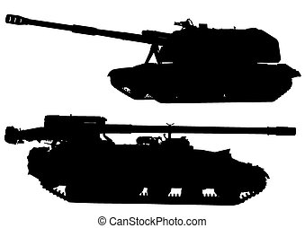 Tanks silhouette - Big military tank on white background