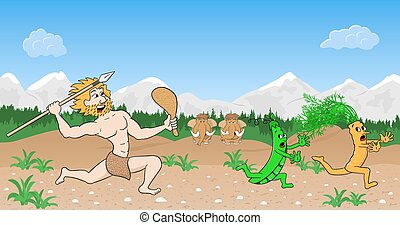 vegetarian stone age man hunts vegetables - vector...