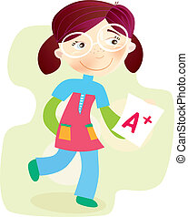School Girl with test result - Happy cartoon girl with exam...