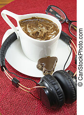 Cup of coffee and headphones - Cup of coffee, headphones and...