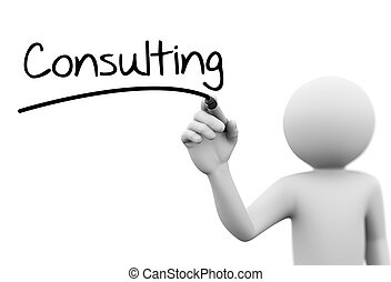 3d person writing consulting on transparent screen - 3d...