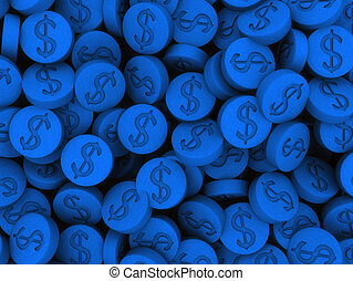pills - 3d rendered illustration of many blue pills
