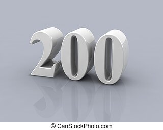 number 200 - white metallic number 200 on white background,...