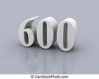number 600 - white metallic number 600 on white background,...