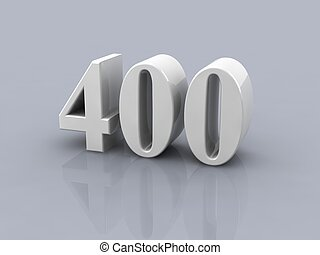 number 400 - white metallic number 400 on white background,...