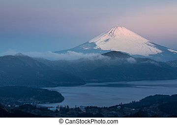 Fuji Mountain Lake Hakone Sunrise - Mountain Fuji in winter...