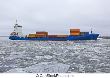cargo container floating in the ice