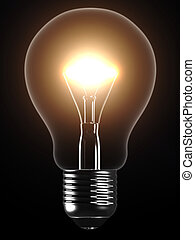 light bulb - 3d rendered illustration of a glowing light...