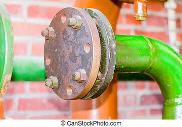 Line, valve, flange, iron pipe, valves - An iron pipe with...