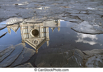 fantastic reflection in the puddle of Santa Croce basilica...