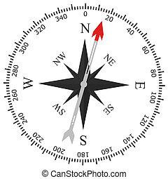 Simple compass rose isolated on white background