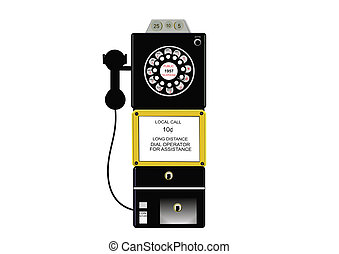 antique payphone in 3d - 3d payphone from the 1950\'s era in...